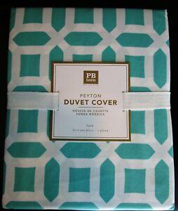 "Pottery Barn Teen PEYTON Duvet Cover * Size FULL / QUEEN * Aqua ""Pool"" & White"