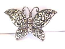 STERLING SILVER SIGNED 925 A MARCASITE BUTTERFLY PIN SPARKLY VINTAGE 1980'S