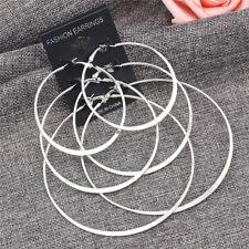 3Pair/Set Vintage Silver Gold Big Circle Hoop Earrings Women Steampunk Ear ClipE