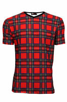 Men's Red Tartan Classic Punk Print V-Neck T-Shirt Top Goth Emo