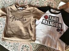 LOT OF 2 18M BABY BOY NEW NWT TRUE RELIGION SHIRT BLACK WHITE BEIGE FENDER EUC