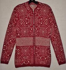 MFH Ladies S 100% Baby Alpaca Jacquard Cardigan Sweater Jacket, Cranberry Red