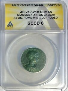 Diadumenian as Caesar - Æ As, ROME (AD 217-218) ANACS GOOD 6