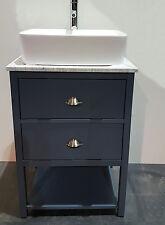 600mm wide 2 dr Bathroom Cabinet Granite Top Bowl Tap Waste Painted Vanity Unit