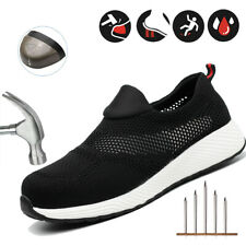 Women Ultralight Safety Work Shoes Breathable Mesh Steel Toe Cap Hiking Trainers