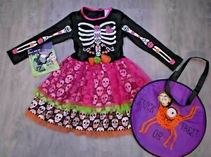 GIRLS AGE 5 6 7 YEARS DAY OF THE DEAD SKELETON HALLOWEEN COSTUME NEW MAKE UP BAG