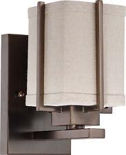 Hazel Bronze Energy Star Wall Sconce With Khaki Fabric Shade