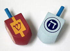 2 Chanukkah DRADELS......  Wooden Coloured dreidel children boy girl dridel spin
