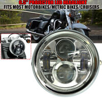 "6.5"" Projector LED Headlight Chrome Metal For Cafe Racer Bobber Custom"
