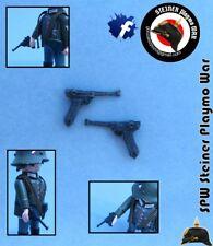 2x LUGER P08 PISTOLA ALEMANIA GUERA MUNDIAL WW2 GERMAN GUN SOLDADOS  PLAYMOBIL