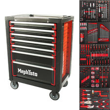 Werkzeugwagen mit 7 Schubladen inkl. 5 mit Werkzeug gefüllt Carbon-Einlagen
