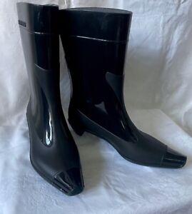 Black MIU MIU by Prada Vintage Rubber Rain Boots Made in Italy EU 37/US 6.5/UK 4