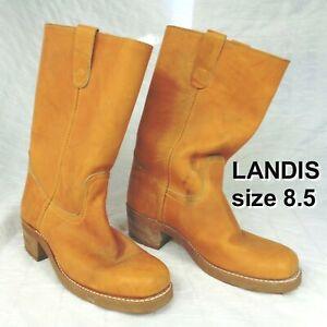 Vintage Landis DINGO Golden Tan Leather Biker Western Boots Mens 8.5 D FAST SHIP