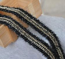 1Yard Gold Chain Lace Trim Crochet Metal Ribbon Fabric Clothes Belt 0.78'' Width