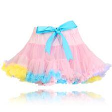 Niña Calidad Nailon Rosa arcoiris pastel crinolina Vestido De Fiesta Tutu