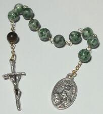 Tigereye & Agate St Pedro Calungsod Single Decade Rosary w John Paul II Crucifix
