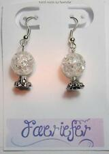 Crystal BALL FORTUNE TELLER ORECCHINI A MANO REGALO IN SILVER PLATED earwires