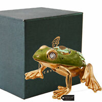 Matashi 24K Gold Plated Crystal Studded Frog with Enamel Ornament For Gifting