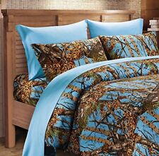 Powder Blue CAMO SHEET SET!! CAL KING BEDDING 6 PC CAMOUFLAGE LIGHT BABY WOODS