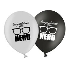 "Congratulations YOU NERD 12"" Printed Silver & Black Assorted Latex Balloons 12ct"