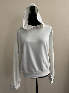 NWT Prologue Women's Long Sleeve Pullover Hoodie White Sweatshirt- L