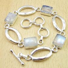 "Rainbow Moonstone Gems Silver Plated Jewelry Artisan Links Bracelet 8"" ! Square"