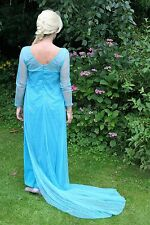 "Frozen Elsa Fancy Dress 40"" Bust Medium Size Party Costume Blue Glitter Train"