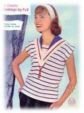 Ladies' 1950s DK Sailor Collar Capped-sleeved Top Knitting Pattern Instructions