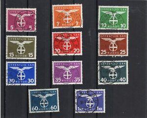 Norway set - Scott O 44-54 - used - VF