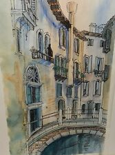 """DIANE CLAPP BARTZ """"CANALS OF VENICE ITALY"""" ORIGINAL WATERCOLOR PAINTING C.O.A."""