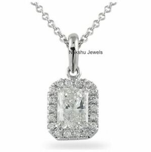 1Ct Radiant Cut White Moissanite Halo Pendant In Solid 14K White Gold