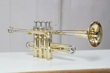 piccolo trumpet brass and nickel Bb/A pitch  with hard case bag and mouthpiece