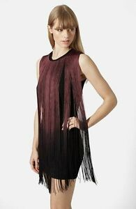 Topshop PREMIUM Dip Dye Fringed Dress Size uk12 BNWT