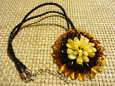 GENUINE BALTIC AMBER Necklace&Pendant - Flower !!!