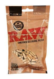 RAW Unrefined CELLULOSE Slim Filters - 200 Tips Per Bag