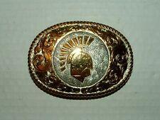 #1970s Crumrine 22K Gold On Sterling Belt Buckle w Spartan / Trojan Helmet #D70