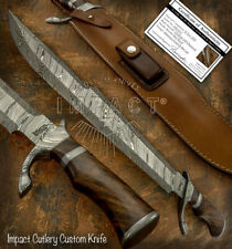 IMPACT CUTLERY RARE CUSTOM MASSIVE DAMASCUS PREDATOR BOWIE KNIFE BURL WOOD