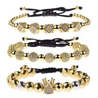 Charm Luxury Men Women Cubic Zircon Crown Polygon Gasket Copper Bead Bracelets