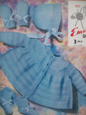 Baby girls Vintage MATINEE COAT BONNET SET KNITTING PATTERN 3 ply 1 - 12 mths