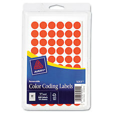 "Avery Handwrite Only Removable Round Color-Coding Labels 1/2"" dia Neon Red 840"