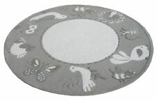 Bird Round Grey Handmade Kids Wool Area Rug