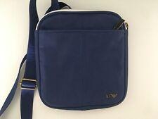 Armani Jeans Men's Small Flat Shoulder Bag Blue Faux Leather