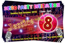 BIRTHDAY PARTY INVITATIONS Disco Dance Karaoke Theme Personalised