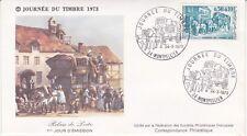 Enveloppe 1er jour FDC 1973 - Journée du timbre Relais de Poste