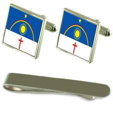 Pernambuco Flag Silver Cufflinks Tie Clip Engraved Gift Set