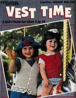 Vest Time 5 Girl's Vests | Leisure Arts 2855 Crochet