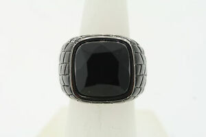 Shaquille O'Neal 19.5mm Black and Silver Stainless Steel black Onyx Ring