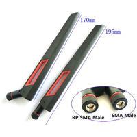 2PCS 10dbi Dual band WIFI Antenna 2.4G 5G 5.8G RP SMA Male WLAN Router Booste tx