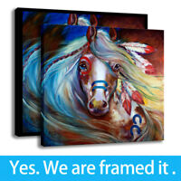 Wall Art Indian War Horse Print on Canvas Marcia Baldwin Home Decor Framed
