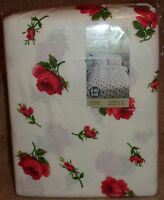 Rosebud Flannelette White/Pink Floral Double Duvet Set Inc 2 Pillowcases,Last 3